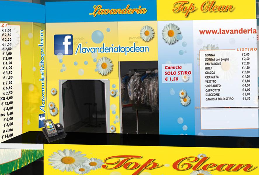Listini, grafica, pubblicità, corporate ID, biglietti da visita, carta intestata, sito internet, pagina Facebook, listini, depliant, brochure, allestimento negozi, teli, totem, cartelli pubblicitari, pubblicità su automezzi per conto della catena di Lavanderie Top Clean